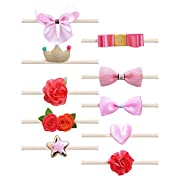 Belle Beau Baby Girls Headbands, Nylon Hair Bow Headbands for for Baby, Toddler, Girls, Soft and Stretchy, Set of 10 (A)