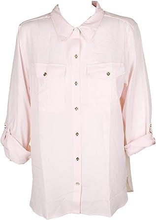 Tommy Hilfiger Camisa con Botones para Mujer - Rosa - Large: Amazon.es: Ropa y accesorios