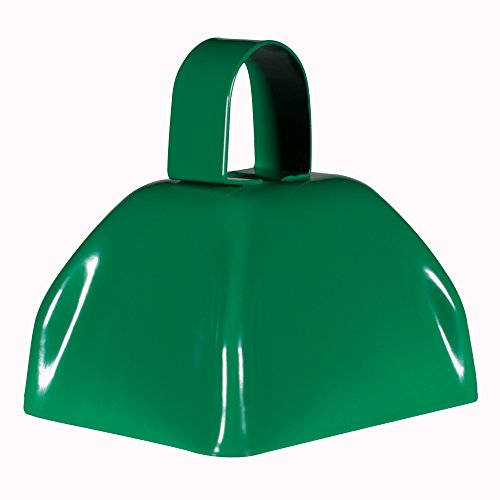 Metal Cowbells with Handles 3 inch Novelty Noise Maker - 12 Pack (Green)