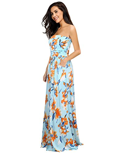 Leadingstar Women's Strapless Sexy Boho Style Floral Maxi Dress (Sky-Blue, XL) -