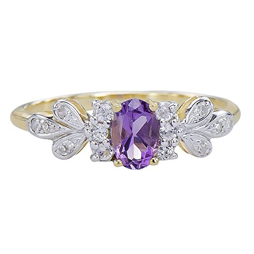 Caratera Fine Gold Jewelry Natural Amethyst Gemstone 9K Yellow Gold Intricate French Fleur Diamond Ring