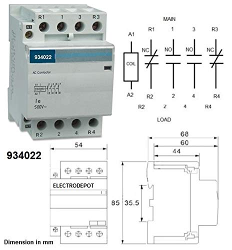 Contactor 2NO 2NC 4 Pole 2x2 Control 120V Coil, 50A 60Amp 40A 32Amp 30A Power Switching DIN 934022