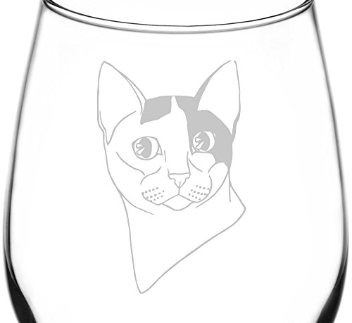 (Japanese Bobtail) Realistic Cat Breed Face Inspired - Laser Engraved 12.75oz Libbey All-Purpose Wine Taster Glass by Appalachia Design Company