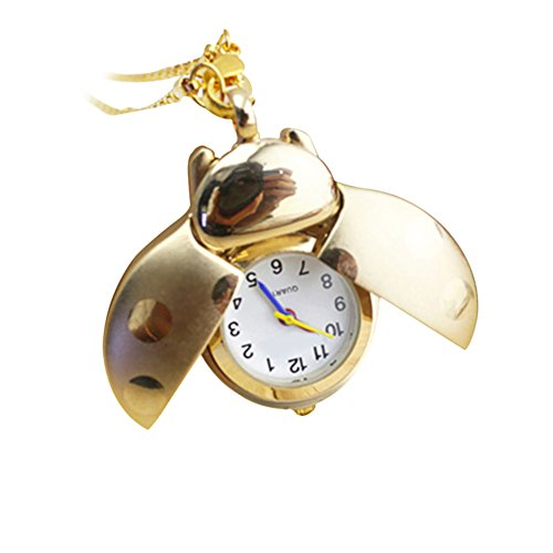 GlobalDeal Retro Beetle Ladybug Shape Quartz Pocket Watch Necklace Pendant Unisex Gifts - Ladybug Necklace Watch