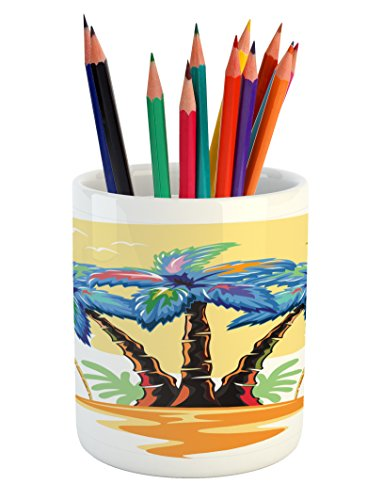 Palm Tree Pencil Pen Holder by Ambesonne, Colorful Cartoon Tropical Island with Hawaiian Palm Trees Torch Seagulls Sunset, Printed Ceramic Pencil Pen Holder for Desk Office Accessory, Blue (Sea Torch)