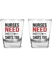 Nurses Need Shots Too - Funny Nurse Party - 1.75 oz Shot Glass Set (2)