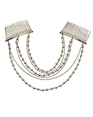 Young & Forever Trendy Pearl & Chain Layers With Hair Comb Hair Accessories For Women Girls
