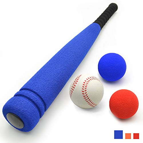 Training Foam Baseballs (CELEMOON [3 Balls Included] Super Safe Kids Foam Baseball Bat Toys with 3 Balls for Children Age Over 3 yrs Old, Portable Carrying Bag Included, Blue)