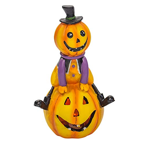 Delton Orange Pumpkin Man on Jack-o-Lantern 7.5 x 4.5 Inch Resin LED Halloween Tabletop Figurine]()