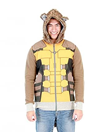 Guardians of the Galaxy I Am Rocket Raccoon Costume Hoodie (Adult X-Small)