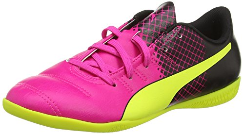 Puma evoPOWER 4.3 Tricks IT Jr, Unisex-Kinder Hallenschuhe, Pink (pink glo-safety yellow-black 01), 38.5 EU (5.5 Kinder UK)