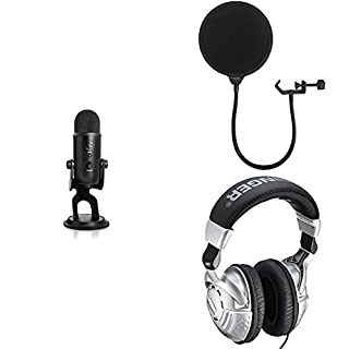 Blue Yeti USB Microphone - Blackout Edition with Dragonpad Pop Filter