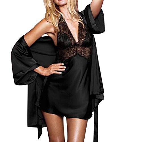 Conjunto de Pijamas de Dos para Mujer, Costuras de Encaje, Pijama sin Espalda con Vestido de Seda en Color Liso, Vestido + Chal_Internet: Amazon.es: Ropa y ...