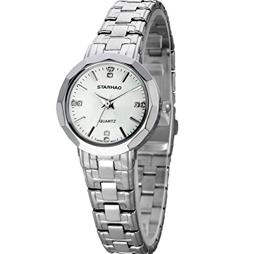Stylish Woman Man Quartz Analog Wrist Watch Strip Dial Blue Band - 6