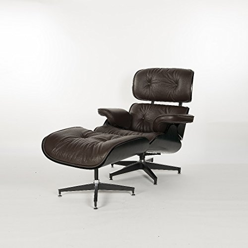 Simple Modern Fashion Style Living Room Genuine Leather Wood Lounge Chair and Ottoman (Black Oak ()
