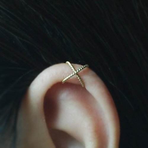 20gauge Criss Cross X Ear Cuff, Cartilage earring, Fake conch piercing,Boho jewelry, Ear Jacket, Cartilage earring, Holiday gift, for her, Handmade Gift, Please select an option