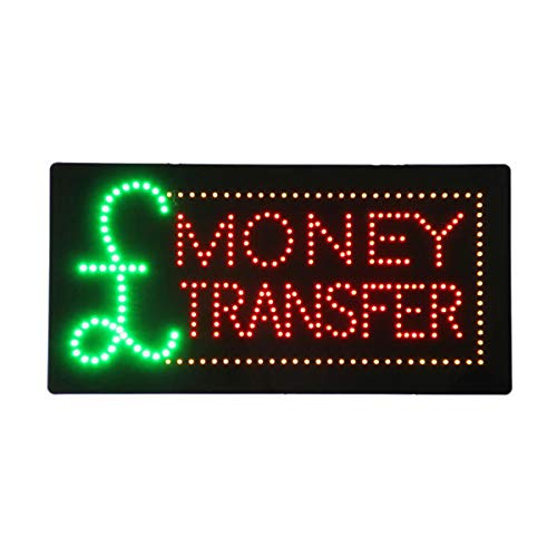 (LED Money Transfer Open Light Sign Super Bright Electric Advertising Display Board for Bank Currency Exchange Service Business Shop Store Window Bedroom 24 x 12 inches)