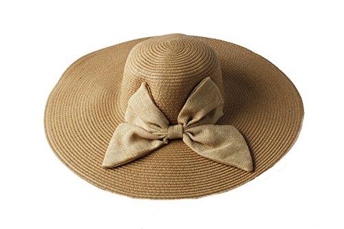 para Sombrero Accessoryo lazo floppy grande con mujer beige de Sombrero detalle floppy wtn7q1H