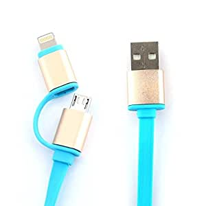 Estock® USB Connector 8 pin to USB2.0 Cable and Micro USB to USB2.0 Fast Charger Data Sync Cable 2 in 1 Cable Retractable Blue
