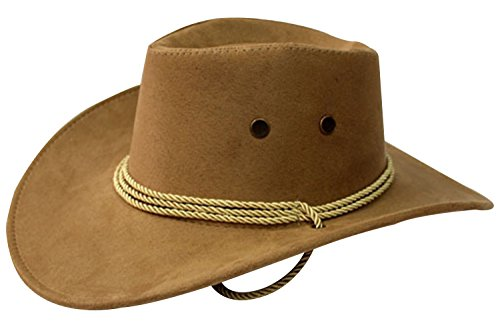 URqueen Unisex Round Up Leather Cowboy Ranch Hat with Strap Dark Beige One Size
