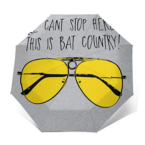 This Is Bat Country Fear And Loathing In LAS Vegas Windproof Compact Auto Open And Close Folding Umbrella,Automatic Foldable Travel Parasol Umbrella