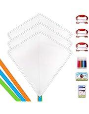 Mint's Colorful Life DIY Kites for Kids Kite Making Kit Bulk, Decorating Coloring Kite Party Pack,White Diamond Kite Kits (3 Pack)