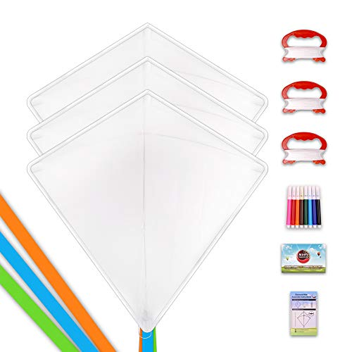 Mint's Colorful Life Design Your Own Kites Kits for Kids Kite Game Party Favor Pack, DIY Blank White Kite Set to Decorate,Painting and Coloring Their Own Creation (3 Diamond with Marker) ()