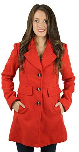 Jessica Simpson Women's Peacoat Wool Coat Orange Size M