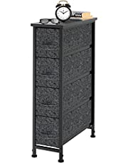 Vertical Dresser Organizer with 4 Drawers, Small Dresser Storage Tower with Steel Metal Frame, Wooden Top, Easy Pull-in-out Fabric Drawers for Bedroom, Closet, Living Room, Entryway, Nursery (Black)