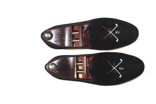 Pantofole In Velluto Ricamato Con Motivo Golf Smythe & Digby Uomo Nere
