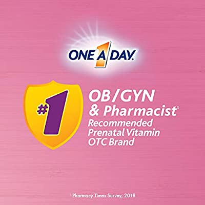 ONE A DAY Women's Prenatal 1 Multivitamin, Supplement for Before, During, and Post Pregnancy, Including Vitamins A, C, D, E, B6, B12, and Omega-3 DHA, 60 Count