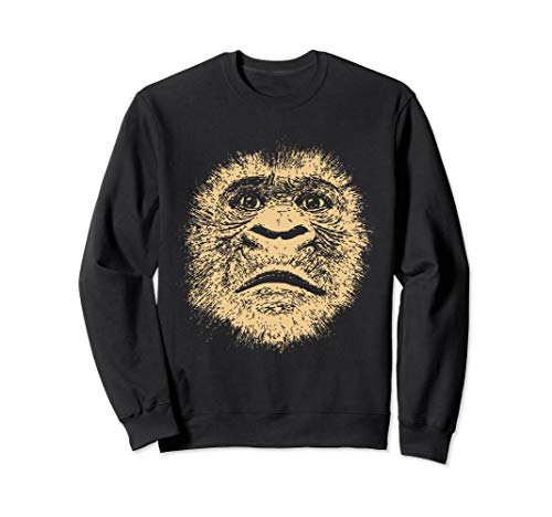 Chimpanzee Face  Funny Gift for Ape Fan Gorilla Lover Adult Sweatshirt