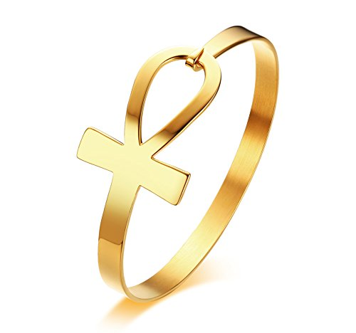 (PJ Stainless Steel Egyptian Ankh Cross Key of Life Open Cuff Bangle Bracelet for Women,Gold Plated )