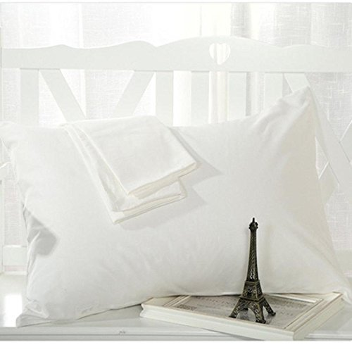 Giselle Hotel Quality 600 Thread Count Egyptian Cotton Set of 2 Pillow Cases Solid White (14 Inch x 36 Inch)
