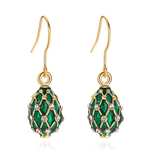 TF Charms Egg Charm Earrings with Swarovski Crystals Elements,925 Sterling Silver Hooks (Green) ()
