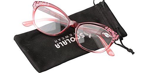 SOOLALA Designer Three-dimensional Floral Framed Spring Hinged Quality Reading Glass, Red, - Square Framed Glasses Red