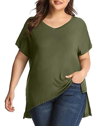 LARACE Women's Plus Size V Neck T Shirt Casual Basic Tee Tops with Side Split - Green - 1X