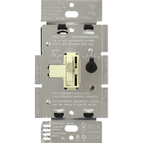 Lutron Toggler C.L Dimmer Switch for dimmable LED, Halogen and Incandescent Bulbs, Single-Pole or 3-Way, AYCL-153P-AL, Almond