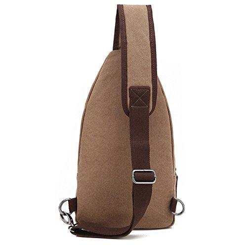 Outreo Pecho Bolso Bandolera Hombre Bolsos de tela Bolsa Vintage Sport Bolsas de Viaje Lona Colegio Peque?as Casual Chest Bag Outdoor Monta?a Originales Marr¨®n