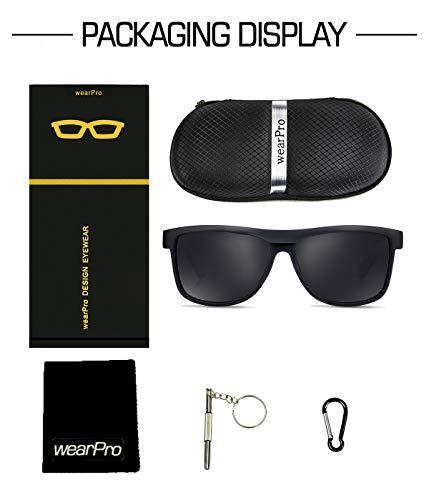 7dc64e0696 Polarized Wood Sunglasses for Men Women -wearPro Wood Sunglasses UV400 for  Traveling with Polarized Lenses