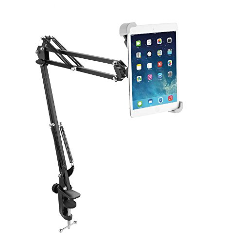 Tablet Stand, Miuko 360°Rotatable Easy-lock Holder Padded Holder Sturdy Aluminum Universal pad Mount Stand Holder for iPad Air Mini Galaxy Tab Android Windows and More