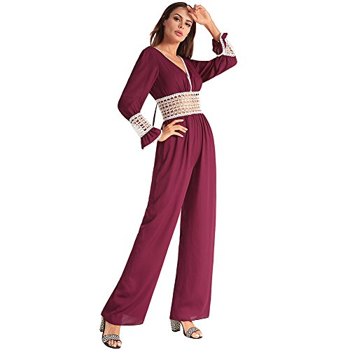 Da Donna Tuta Houjibofa Red Larghi In Gamba Sexy Larga Chiffon Backless A pantaloni 6q5EFE