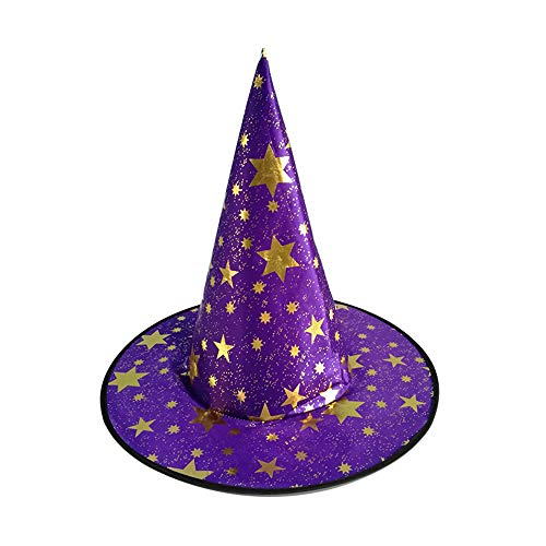 Adult Womens Witch Hat for Halloween Costume Accessory Goldtone Star Print Magic Pointed Wizard Cap