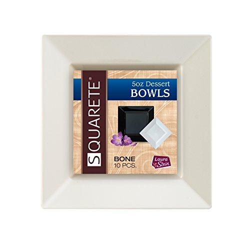 - Squarete 5 ounce Square Bone Party Dessert Bowlsl Heavy Duty Elegant Disposable 5 oz Square Ivory Dessert Bowls 10 Bowls Per Package
