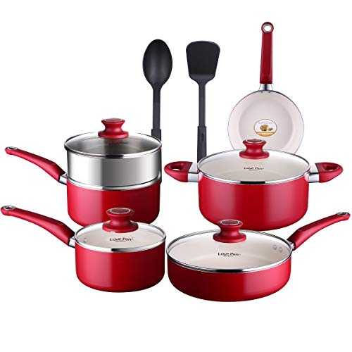 LOVE PAN 12 Piece White Ceramic Pots and Pans Set Kitchen Non-Stick Cookware Set for Cooking and Frying Pot and Pan Set…
