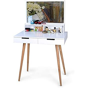 White Large Makeup Vanity Table Desk With Drawers And Mirror Jewelry Armoire