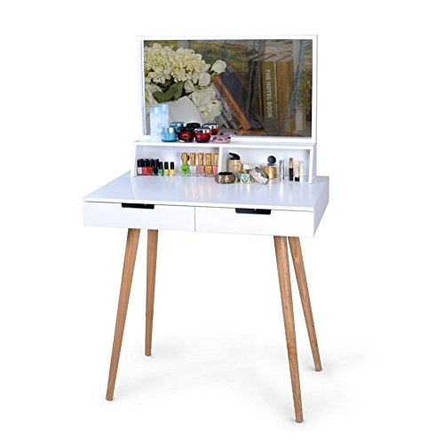 White Large Makeup Vanity Table Desk with Drawers and Mirror Jewelry