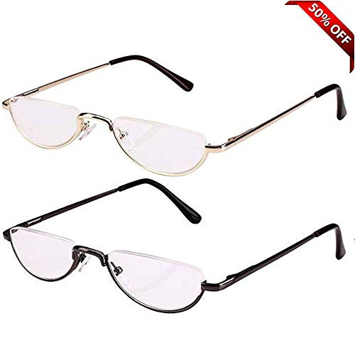 REAVEE Half Reading Glasses for Women Men Half Moon Readers with Leather Pouch-Pack of 2 Slim ()