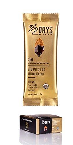 22 Days Nutrition Organic Protein Bars Gluten Free Almond Butter Chocolate Chip 20G Protein Bar-- 12 Bars …