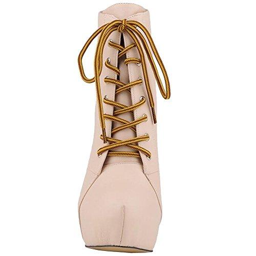 Lovirs Womens Tacco A Spillo Tacco Alto Allacciatura Tronchetti Scarpe Stiletto Beige